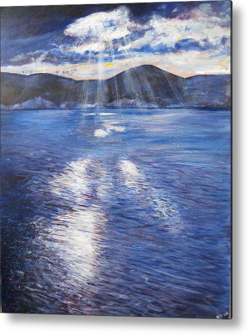 Landscape Metal Print featuring the painting Sunset Near Myrtos Beach Kefalonia by Robina Osbourne