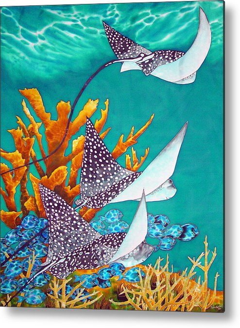 Eagle Ray Metal Print featuring the painting Under The Bahamian Sea by Daniel Jean-Baptiste