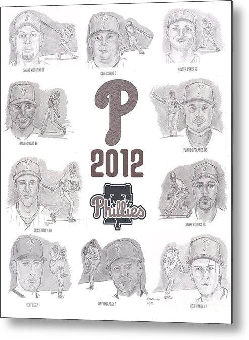 Philadelphia Phillies Metal Print featuring the drawing 2012 Phightin' Phils by Chris DelVecchio