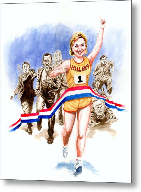 Hillary Clinton Metal Print featuring the painting Hillary And The Race by Ken Meyer jr