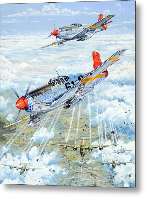 P-51 Metal Print featuring the painting Red Tail 61 by Charles Taylor