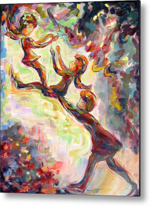 Children Swinging Metal Print featuring the painting Swinging High by Naomi Gerrard