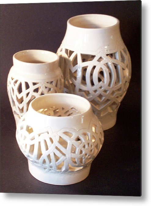 White Metal Print featuring the ceramic art Three Interlaced Design Wheel Thrown Pots by Carolyn Coffey Wallace