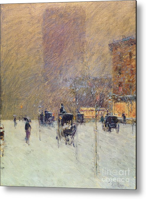 Winter Afternoon In New York Metal Print featuring the painting Winter Afternoon In New York by Childe Hassam