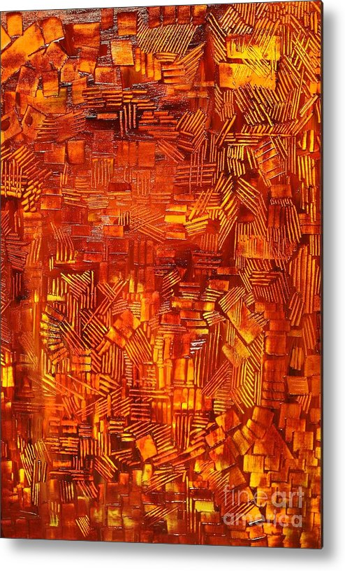 Autumn Metal Print featuring the painting An Autumn Abstraction by Michael Kulick