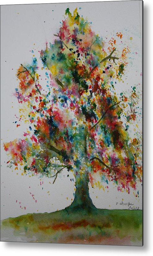 Landscape Metal Print featuring the painting Confetti Tree by Patsy Sharpe