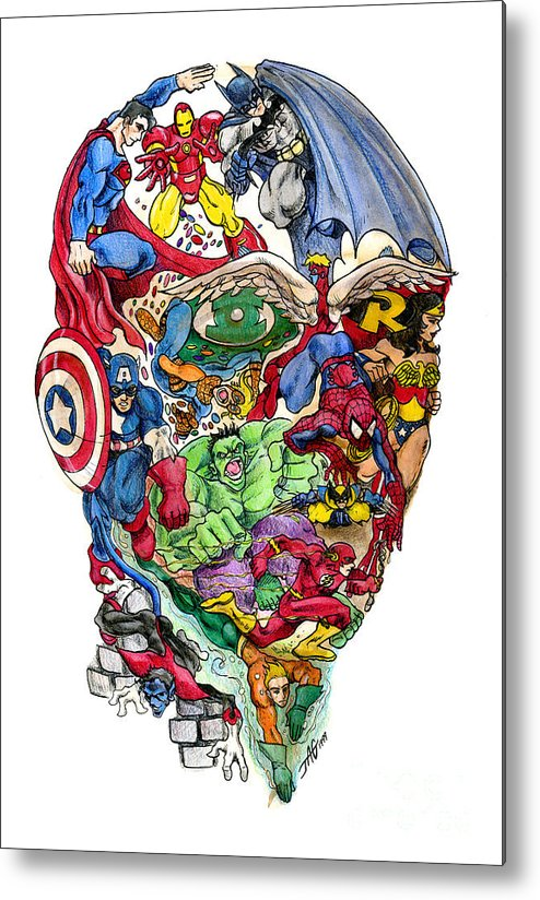 Surreal Metal Print featuring the drawing Heroic Mind by John Ashton Golden