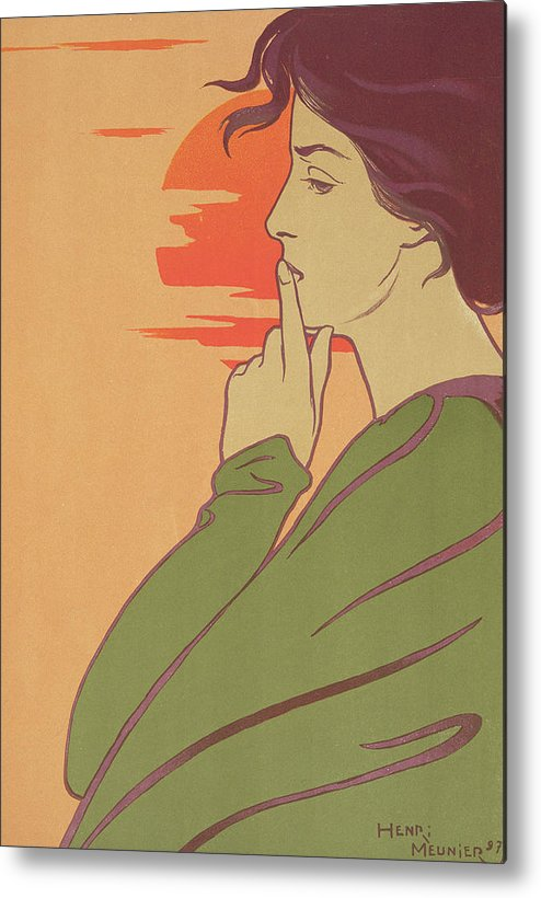Portrait Metal Print featuring the painting The Hour Of Silence by Henri Georges Jean Isidore Meunier