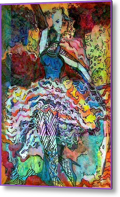 Woman Metal Print featuring the painting Flamenco Dancer by Mindy Newman