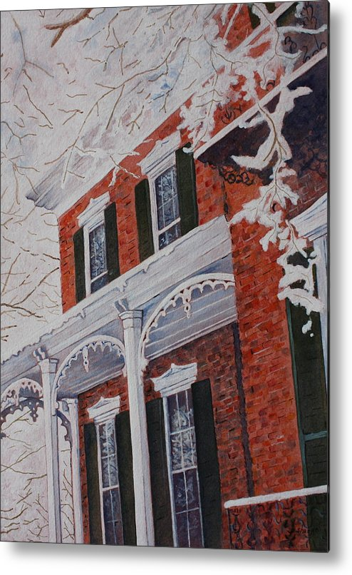 Historic Snowy Mansion Metal Print featuring the painting Snowy Yesteryear by Patsy Sharpe