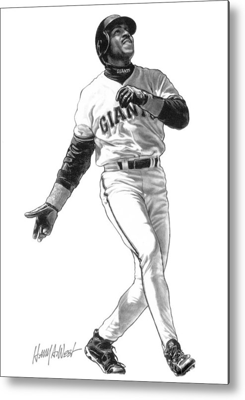 Barry Bonds Metal Print featuring the drawing Barry Bonds by Harry West