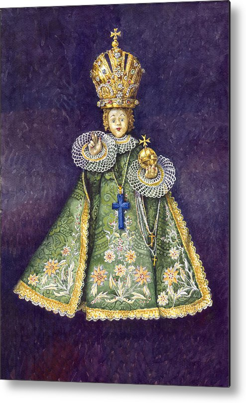 Watercolour Metal Print featuring the painting Infant Jesus Of Prague by Yuriy Shevchuk