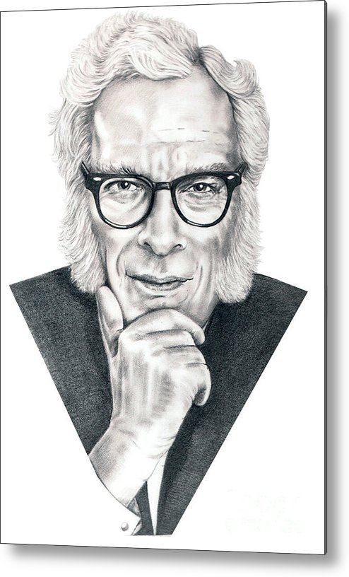 Portrait Metal Print featuring the drawing Isaac Asimov by Murphy Elliott