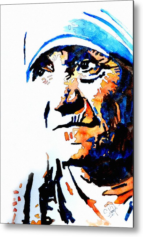 Mother Metal Print featuring the painting Mother Teresa by Steven Ponsford