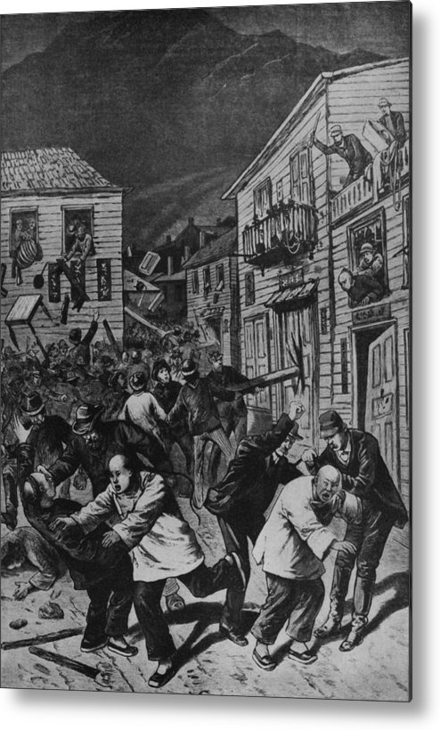 History Metal Print featuring the photograph October 31, 1880 Anti-chinese Riot by Everett