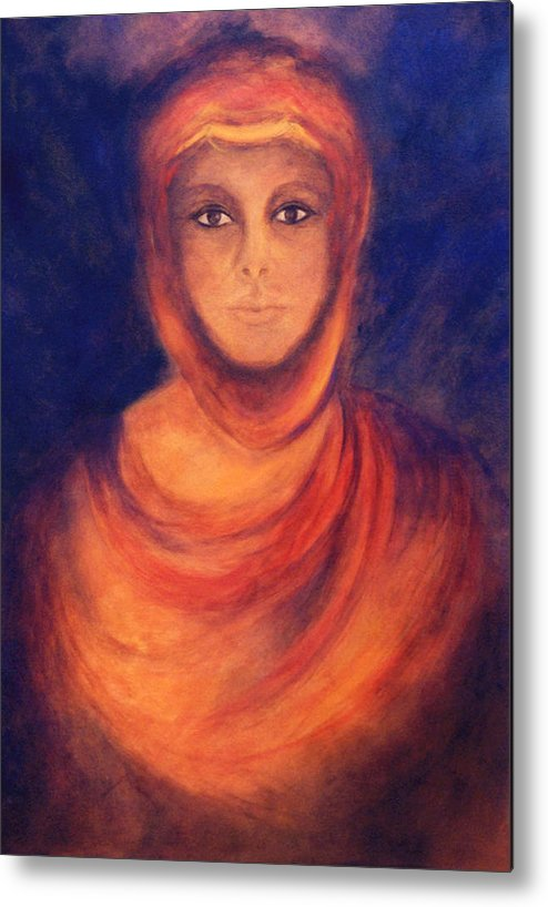 Woman Metal Print featuring the painting The Oracle by Marina Petro