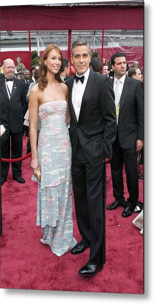 Academy Awards Metal Print featuring the photograph George Clooney, Sarah Larson Wearing by Everett