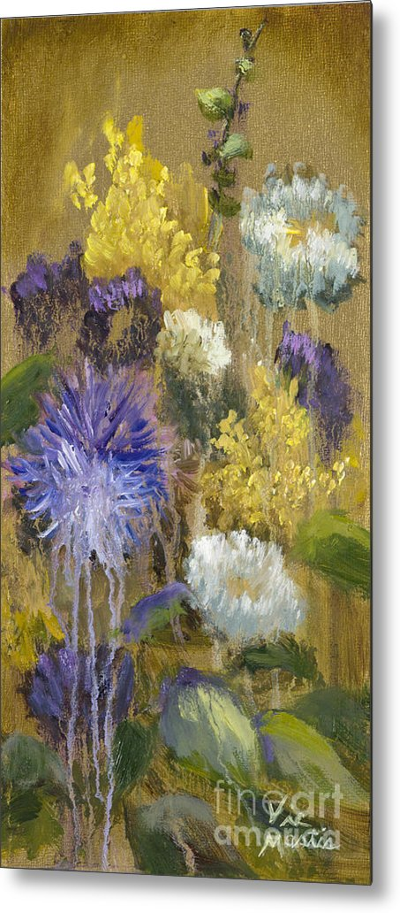 Flower Metal Print featuring the painting Drippy Bouquet With Gold Leaf By Vic Mastis by Vic Mastis