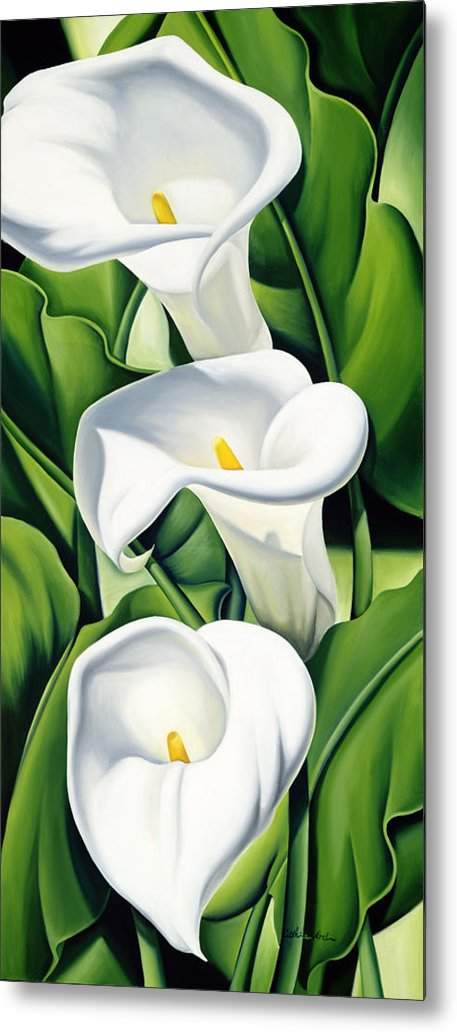 Lilies Metal Print featuring the painting Lilies by Catherine Abel