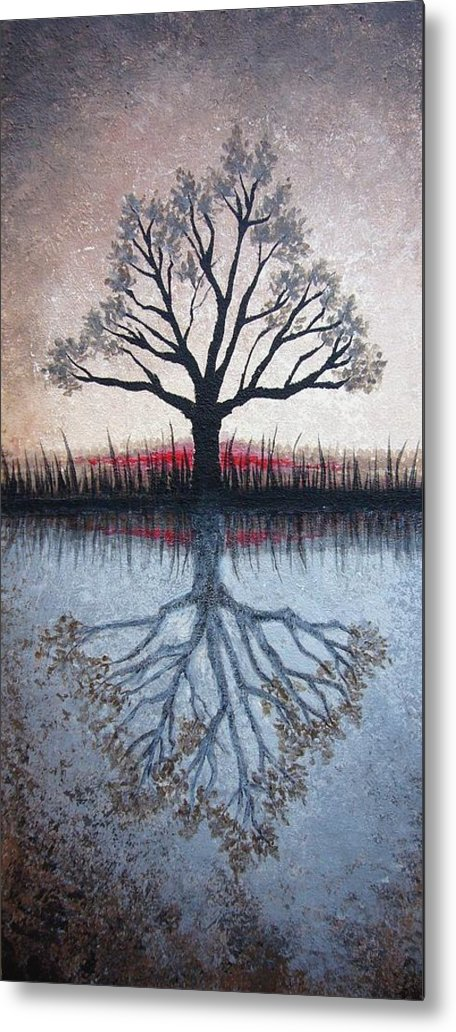 Tree Metal Print featuring the painting Reflecting Tree by Janet King