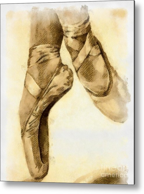 Artwork Metal Print featuring the mixed media Ballerina Shoes by Yanni Theodorou