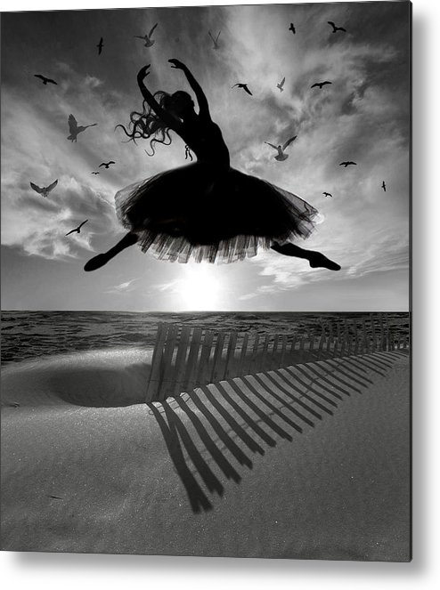 Ballerina Metal Print featuring the digital art Beach Ballerina by Nina Bradica