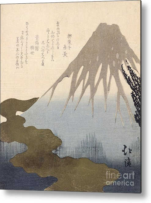 Mountain Metal Print featuring the painting Mount Fuji Under The Snow by Toyota Hokkei