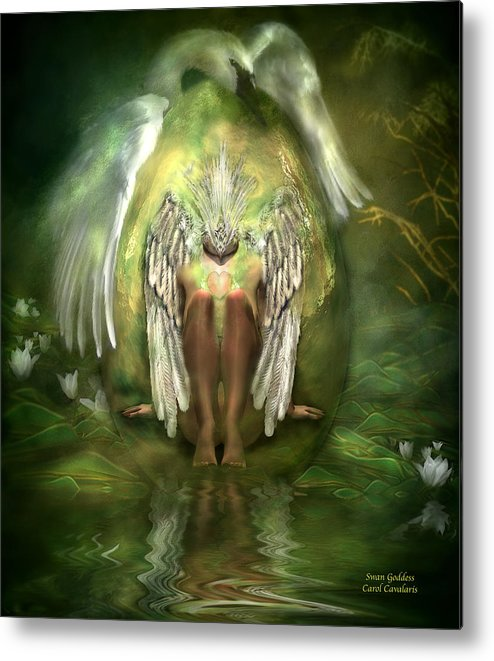 Goddess Metal Print featuring the mixed media Swan Goddess by Carol Cavalaris