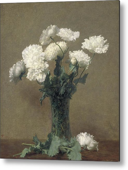 Flowers Metal Print featuring the painting Poppies by Ignace Henri Jean Fantin-Latour