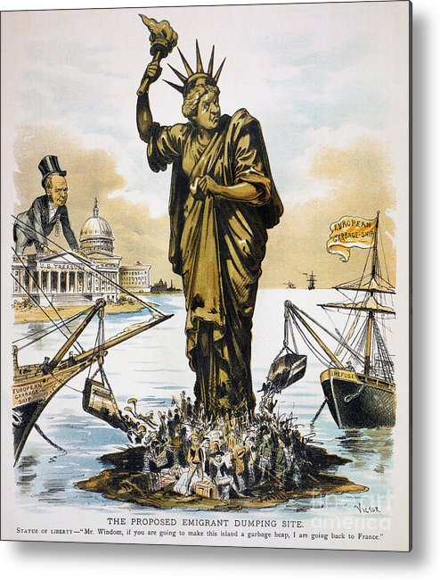 1890 Metal Print featuring the photograph Anti-immigration Cartoon by Granger