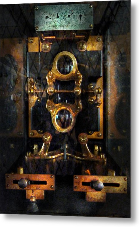 Hdr Metal Print featuring the photograph Steampunk - Electrical - The Power Meter by Mike Savad