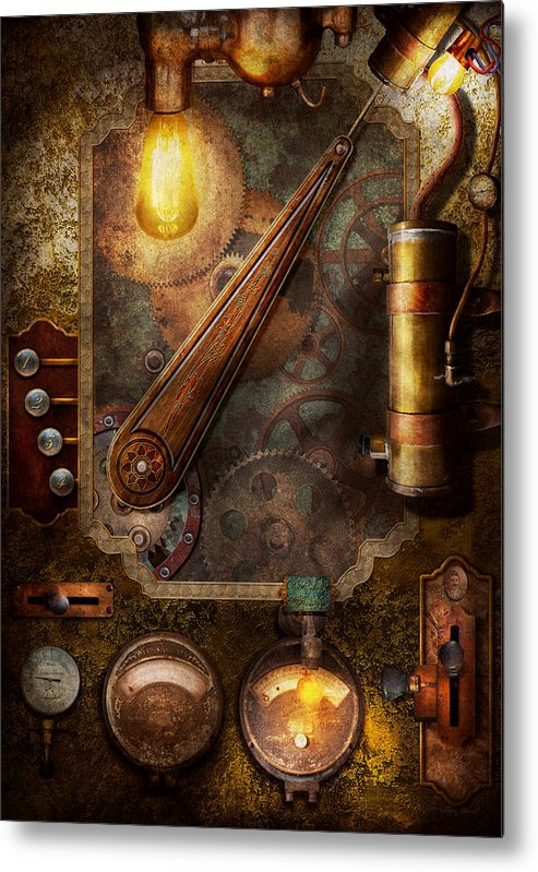 Hdr Metal Print featuring the digital art Steampunk - Victorian Fuse Box by Mike Savad
