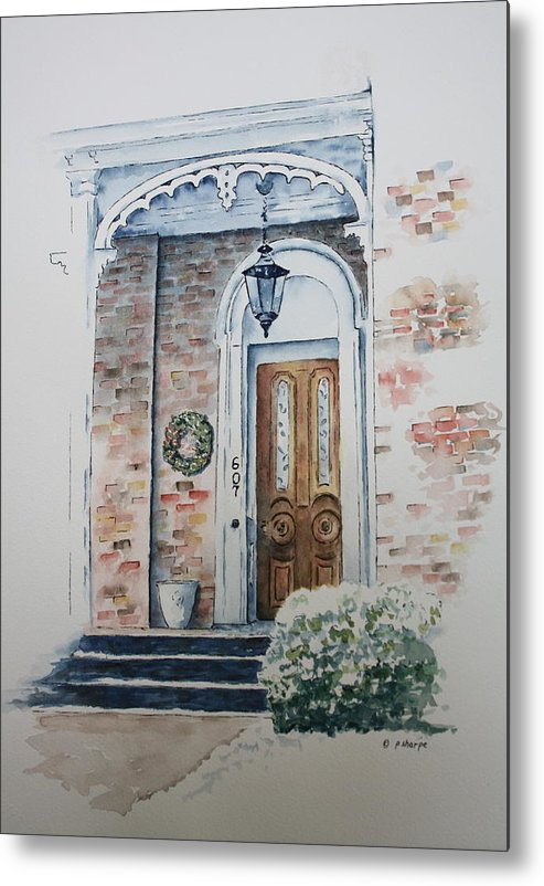 Historic Home Metal Print featuring the painting Welcome Christmas by Patsy Sharpe
