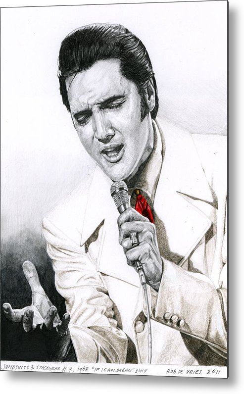Elvis Metal Print featuring the drawing 1968 White If I Can Dream Suit by Rob De Vries