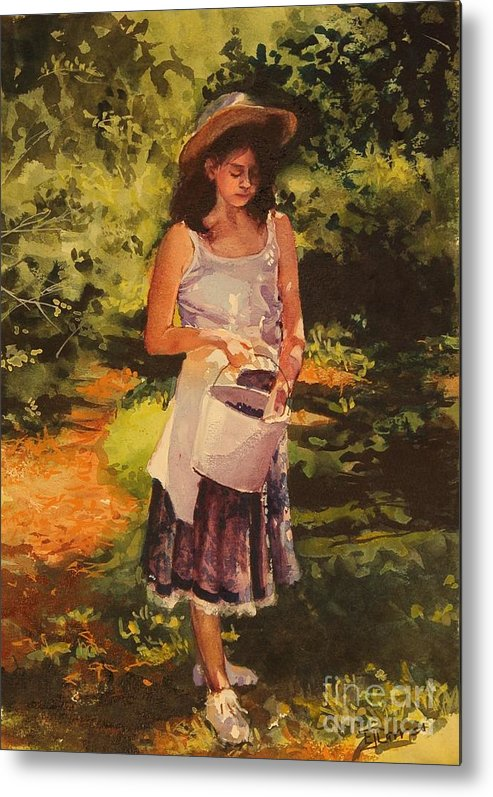 Girl Metal Print featuring the painting Blueberry Girl by Elizabeth Carr