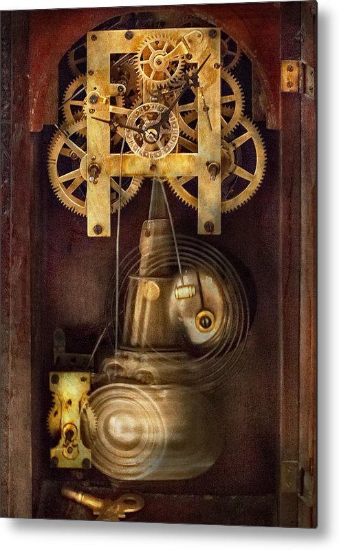 Suburbanscenes Metal Print featuring the photograph Clockmaker - The Mechanism by Mike Savad