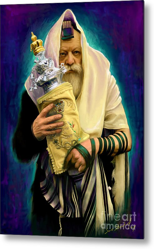 Lubavitcher Metal Print featuring the painting Lubavitcher Rebbe With Torah by Sam Shacked