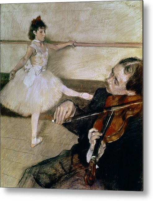 Dancing; Learning; Ballet; Music; Violin; Tutu; Impressionist; Violinist; Practice; Pose Metal Print featuring the pastel The Dance Lesson by Edgar Degas