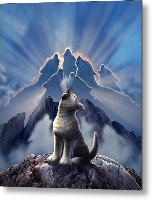 Wolf Metal Print featuring the digital art Leader Of The Pack by Jerry LoFaro