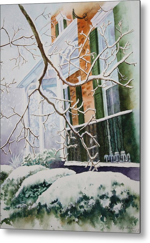 Snow Scene Landscape Metal Print featuring the painting A Blanket Of Snow by Patsy Sharpe