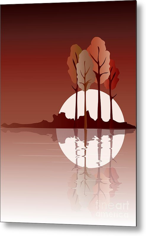 Art Metal Print featuring the digital art Autumn Reflected by Jane Rix