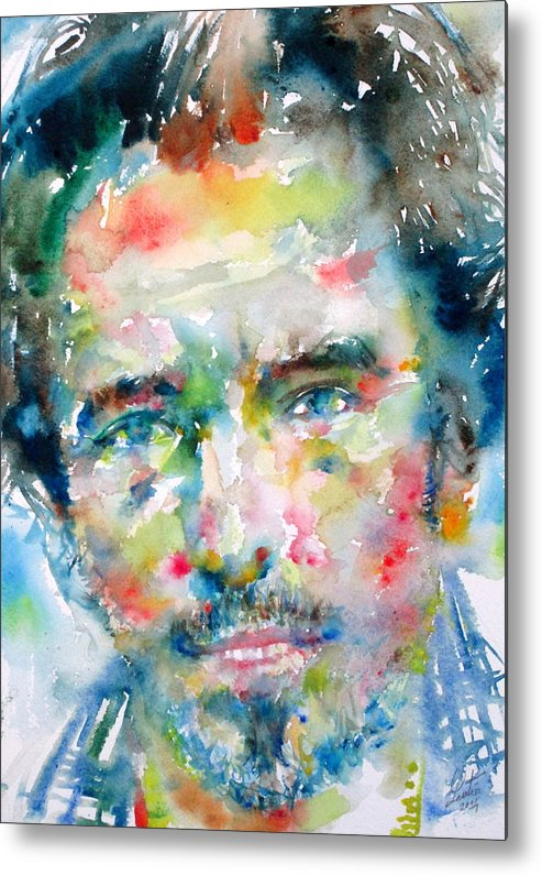 Bruce Metal Print featuring the painting Bruce Springsteen Watercolor Portrait.1 by Fabrizio Cassetta