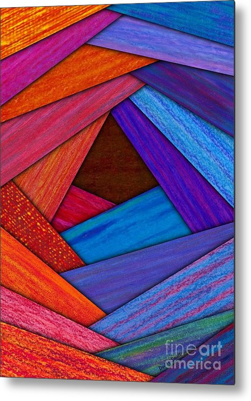 Colored Pencil Metal Print featuring the painting Crazy Log Cabin Card by David K Small