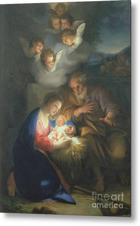 Neo-classical;angel Metal Print featuring the painting Nativity Scene by Anton Raphael Mengs