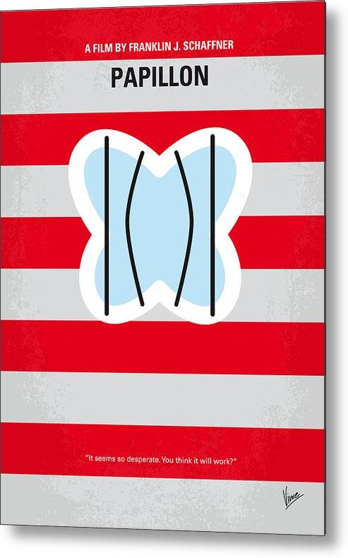Papillon Metal Print featuring the digital art No098 My Papillon Minimal Movie Poster by Chungkong Art