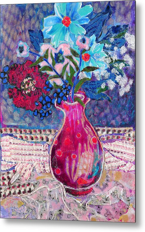 Flowers In A Vase Metal Print featuring the mixed media Red Vase IIi by Diane Fine