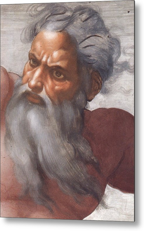 Renaissance; High; Old Testament; Genesis; God The Father; Skies; Sky; Father; Creator; Beard; Bearded; Close-up; Grey; Old; Angry; Male; Sistine Metal Print featuring the painting Sistine Chapel Ceiling Creation Of The Sun And Moon by Michelangelo Buonarroti