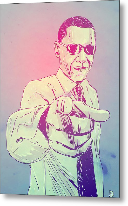 Usa President Metal Print featuring the drawing Yes You Can by Giuseppe Cristiano