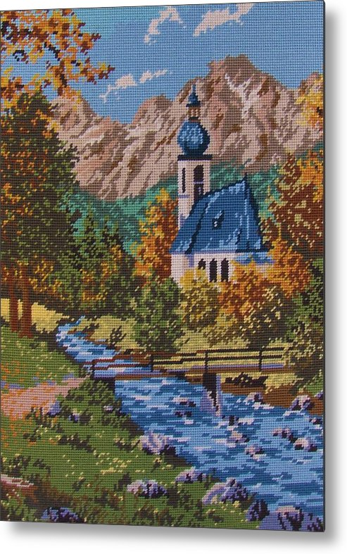 Bavarian Metal Print featuring the tapestry - textile Bavarian Country by M and L Creations Craft Boutique