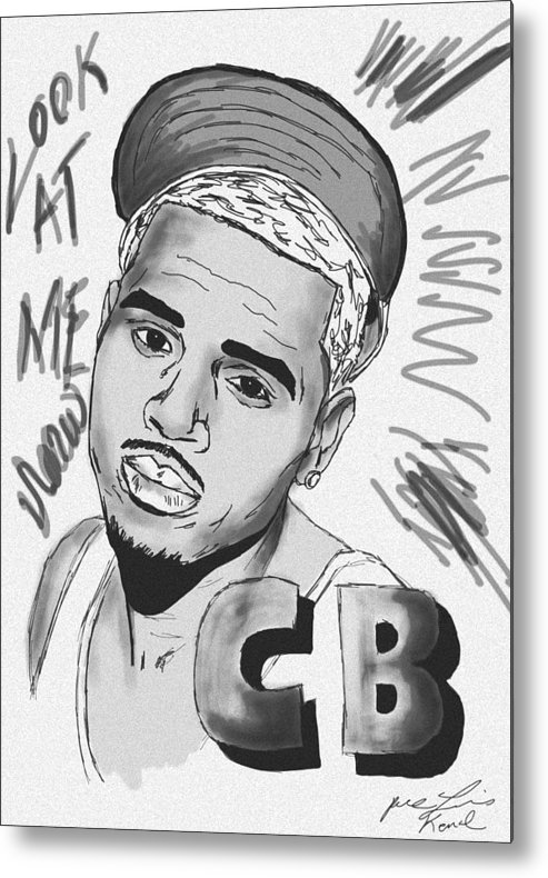 Chris Brown Drawing Metal Print featuring the drawing Chris Brown Cb Drawing by Pierre Louis
